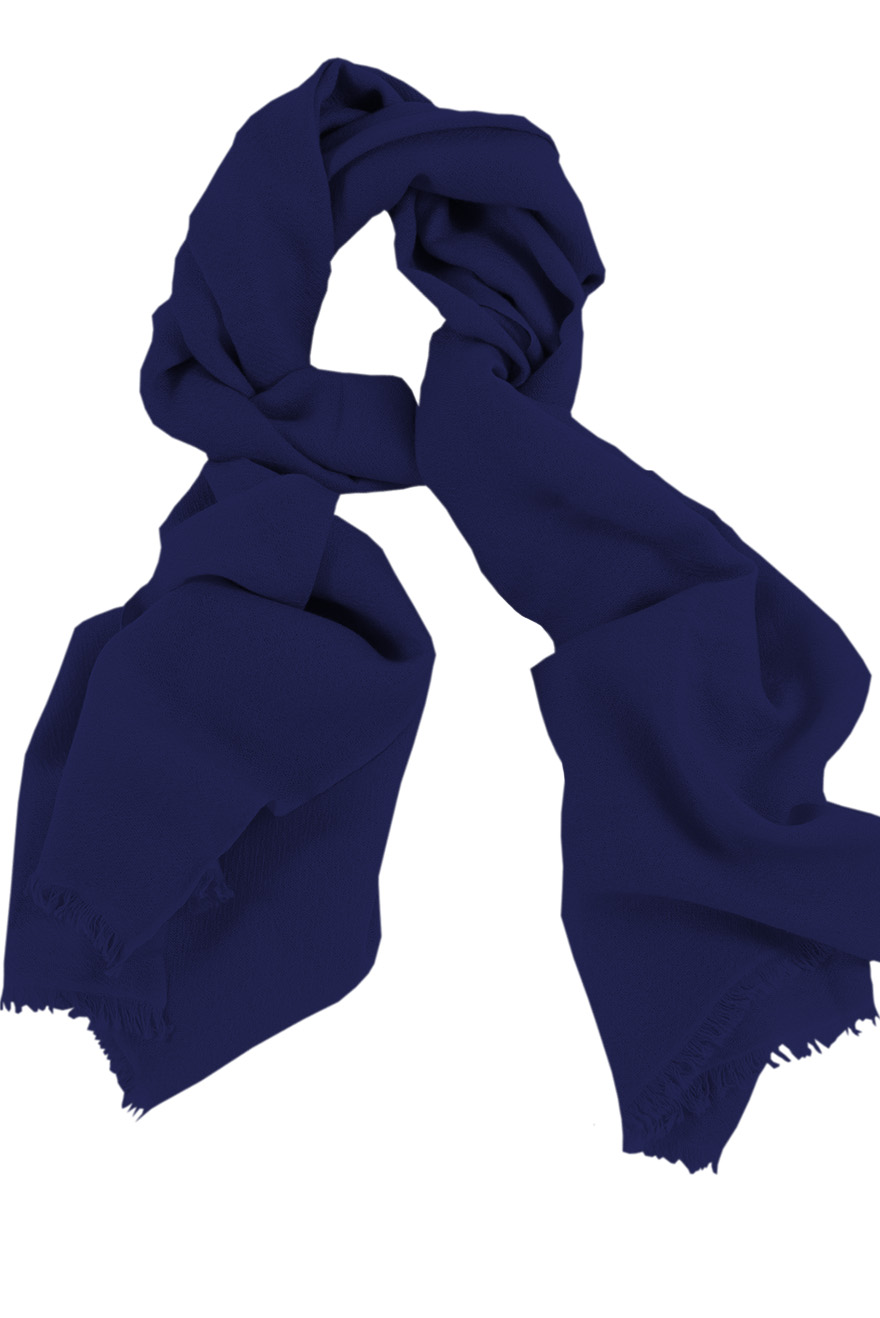 Mens 100% cashmere scarf in deep navy, single-ply with 1-inch eyelash fringe.