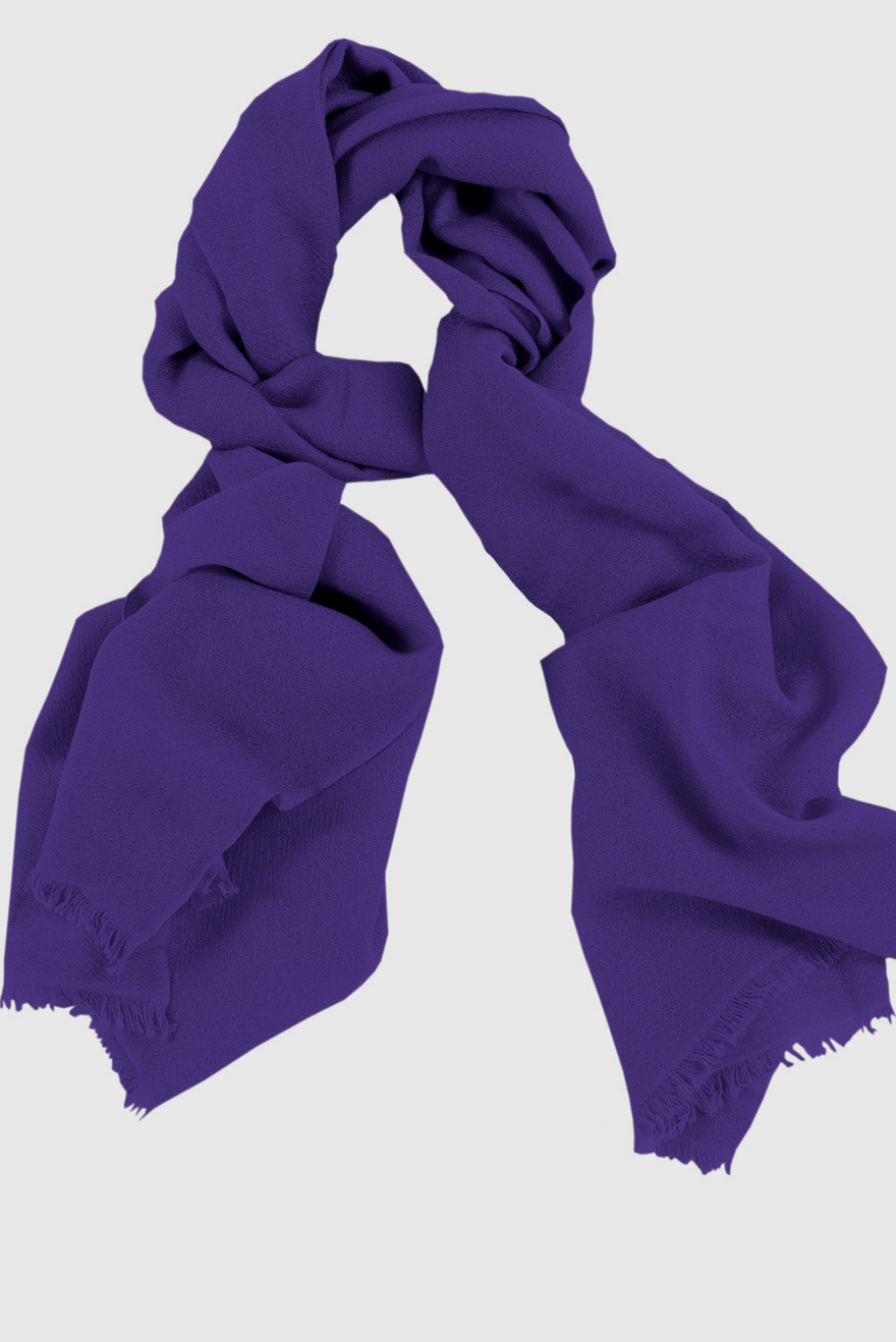 Mens 100% cashmere scarf in purple, single-ply with 1-inch eyelash fringe.