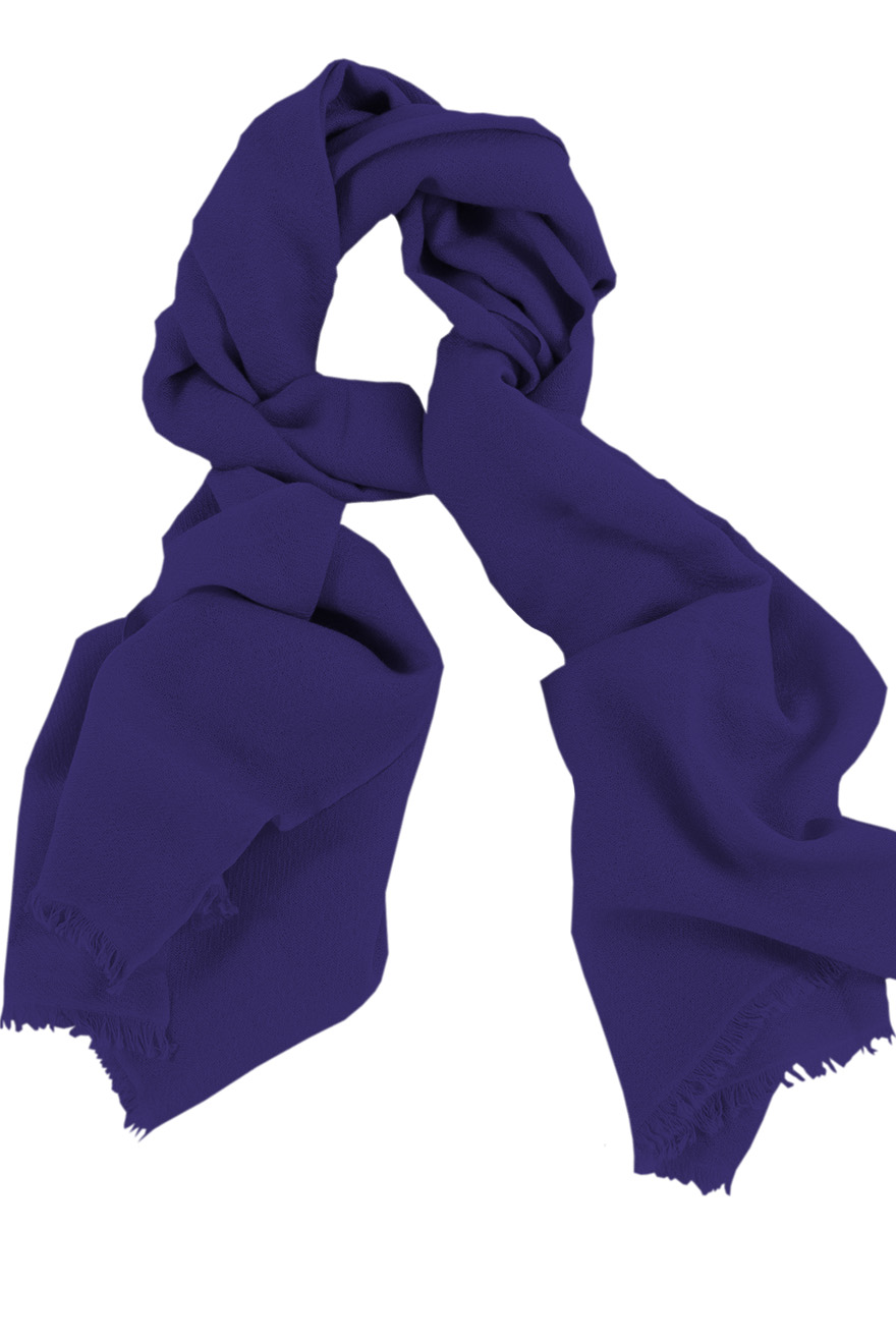 Mens 100% cashmere scarf in deep purple, single-ply with 1-inch eyelash fringe.
