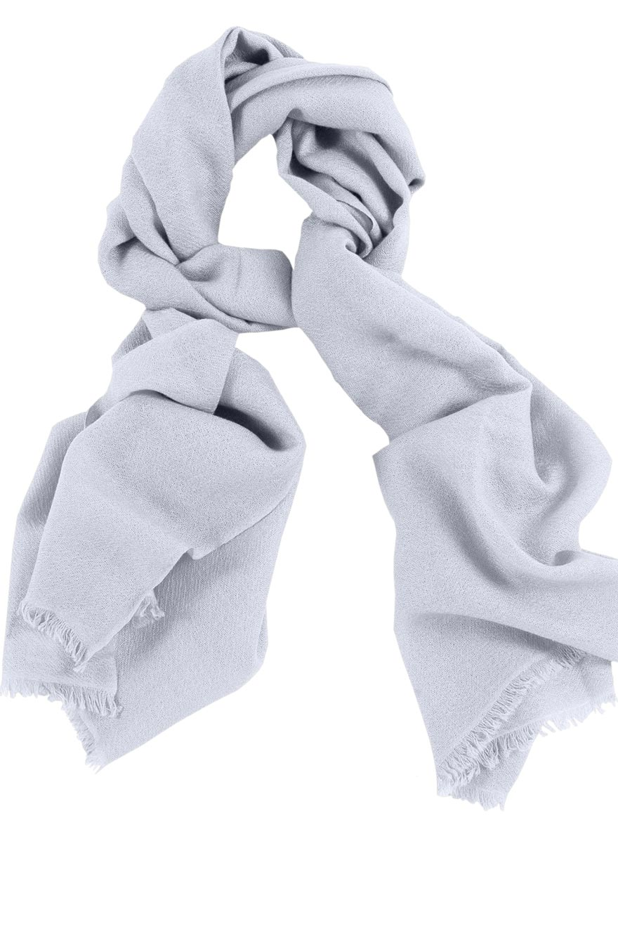 Mens 100% cashmere scarf in light silver grey, single-ply with 1-inch eyelash fringe.