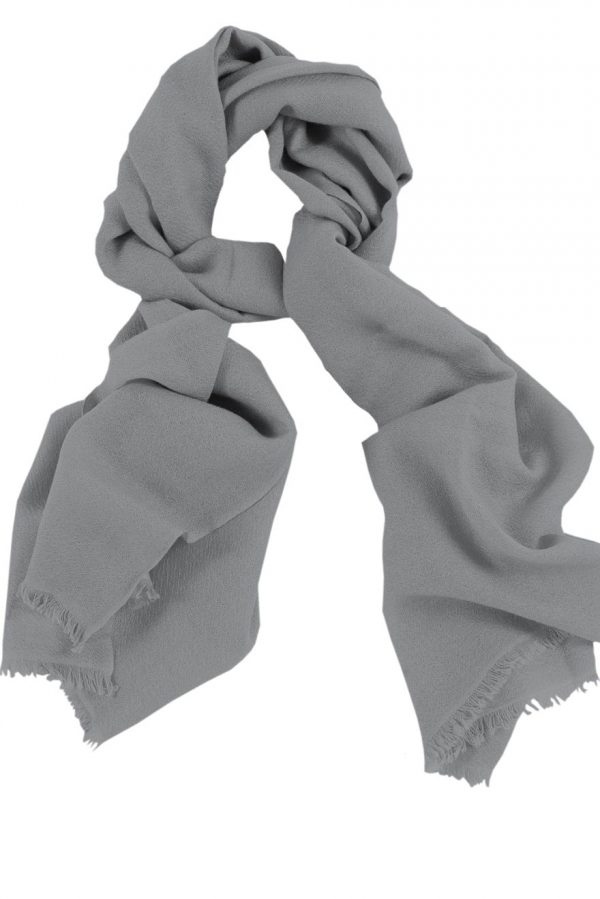 Mens 100% cashmere scarf in silver grey, single-ply with 1-inch eyelash fringe.