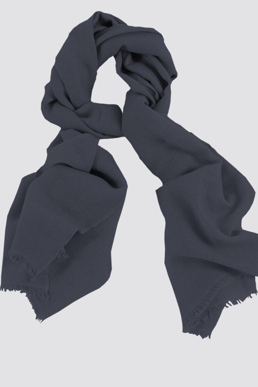 Mens 100% cashmere scarf in rhino grey, single-ply with 1-inch eyelash fringe.