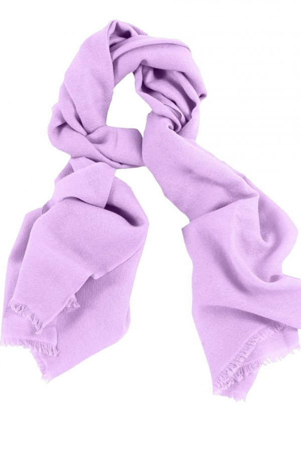 Mens 100% cashmere scarf in lavender, single-ply with 1-inch eyelash fringe.