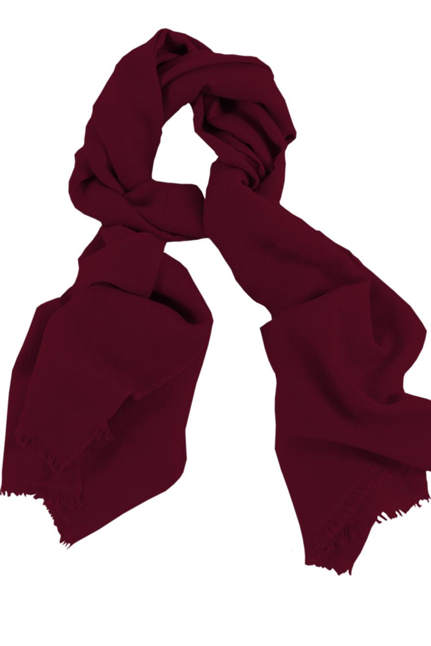 Mens 100% cashmere scarf in dark burgundy, single-ply with 1-inch eyelash fringe.