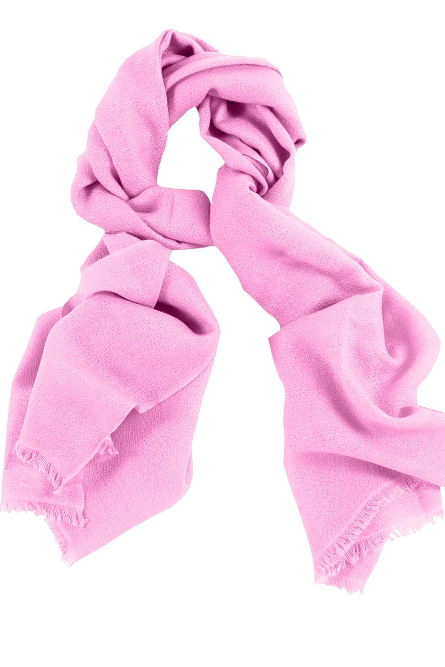 Mens 100% cashmere scarf in Persian pink, single-ply with 1-inch eyelash fringe.