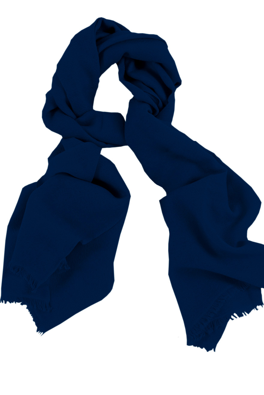 Mens 100% cashmere scarf in dark blue, single-ply with 1-inch eyelash fringe.