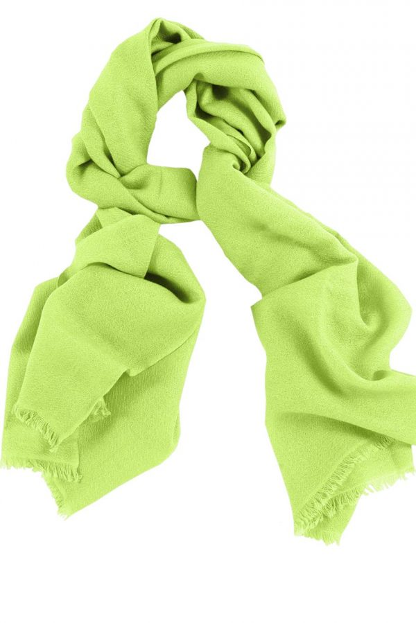 Mens 100% cashmere scarf in chartreuse green, single-ply with 1-inch eyelash fringe.
