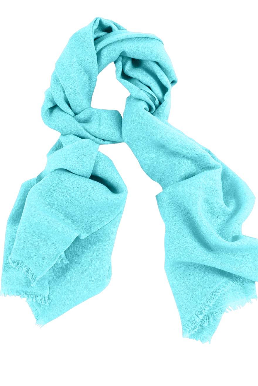 Mens 100% cashmere scarf in Celeste blue, single-ply with 1-inch eyelash fringe.
