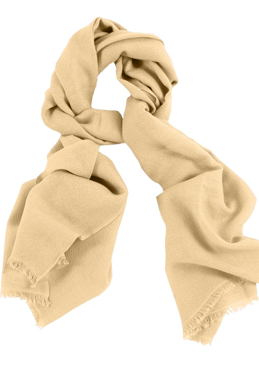 Mens 100% cashmere scarf in wheat, single-ply with 1-inch eyelash fringe.
