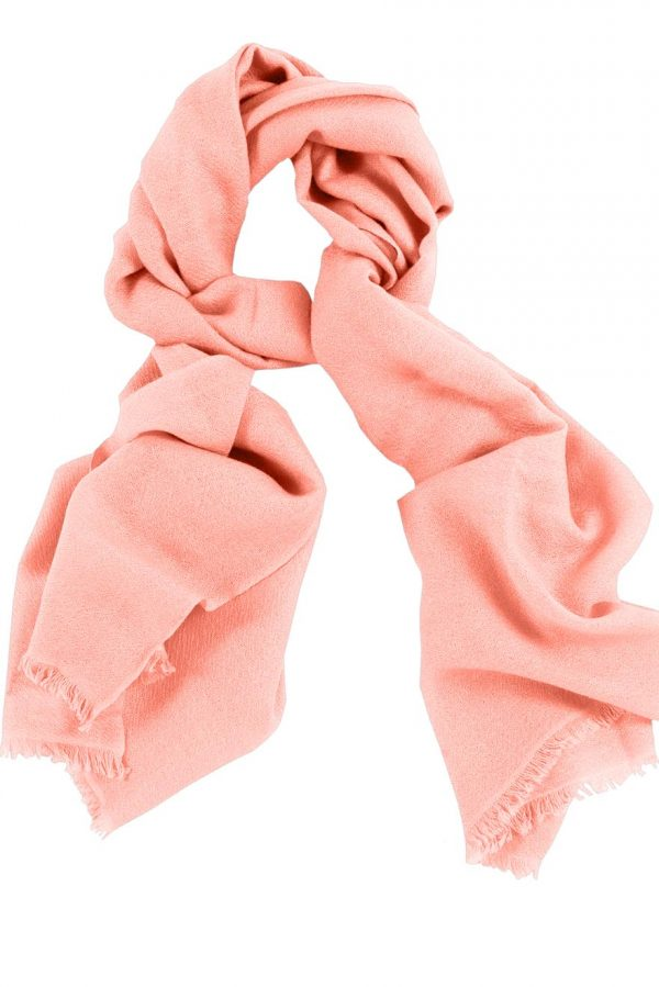 Mens 100% cashmere scarf in peppermint orange, single-ply with 1-inch eyelash fringe.