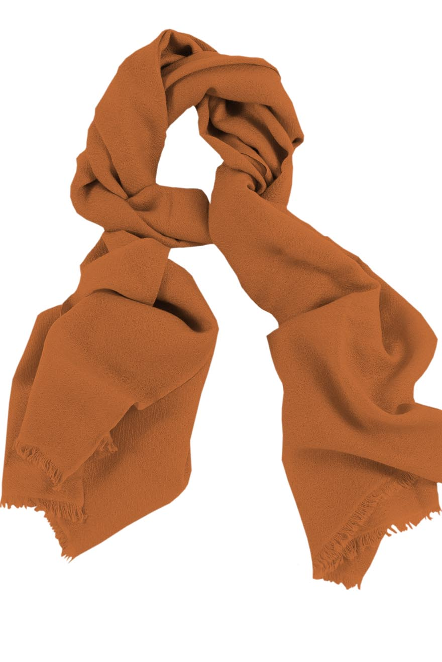 Mens 100% cashmere scarf in tan-hide, single-ply with 1-inch eyelash fringe.