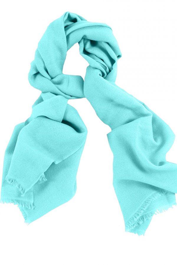 Mens 100% cashmere scarf in aquamarine, single-ply with 1-inch eyelash fringe.