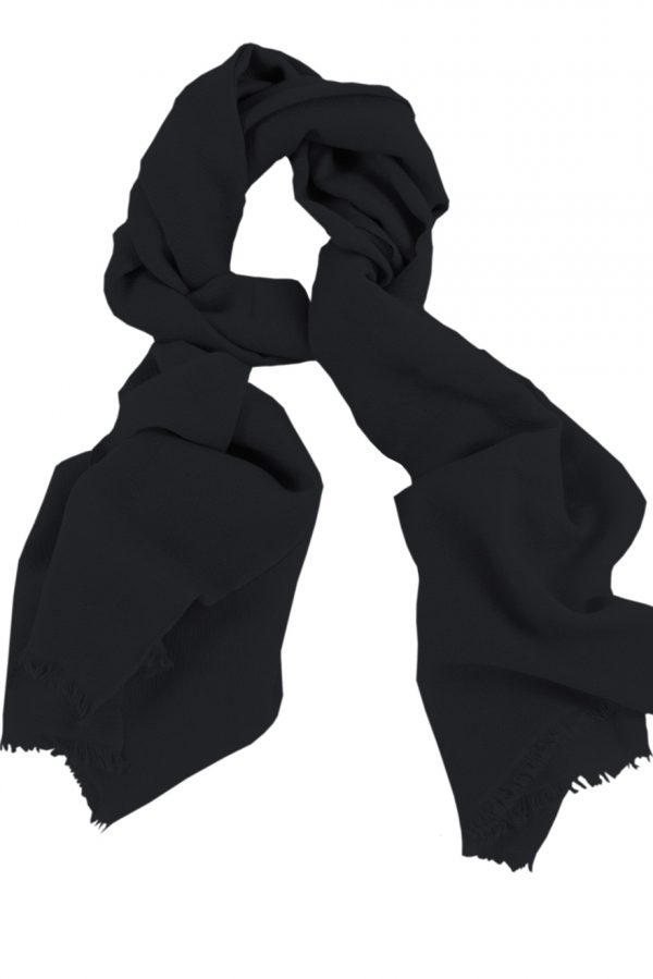 Mens 100% cashmere scarf in black, single-ply with 1-inch eyelash fringe.