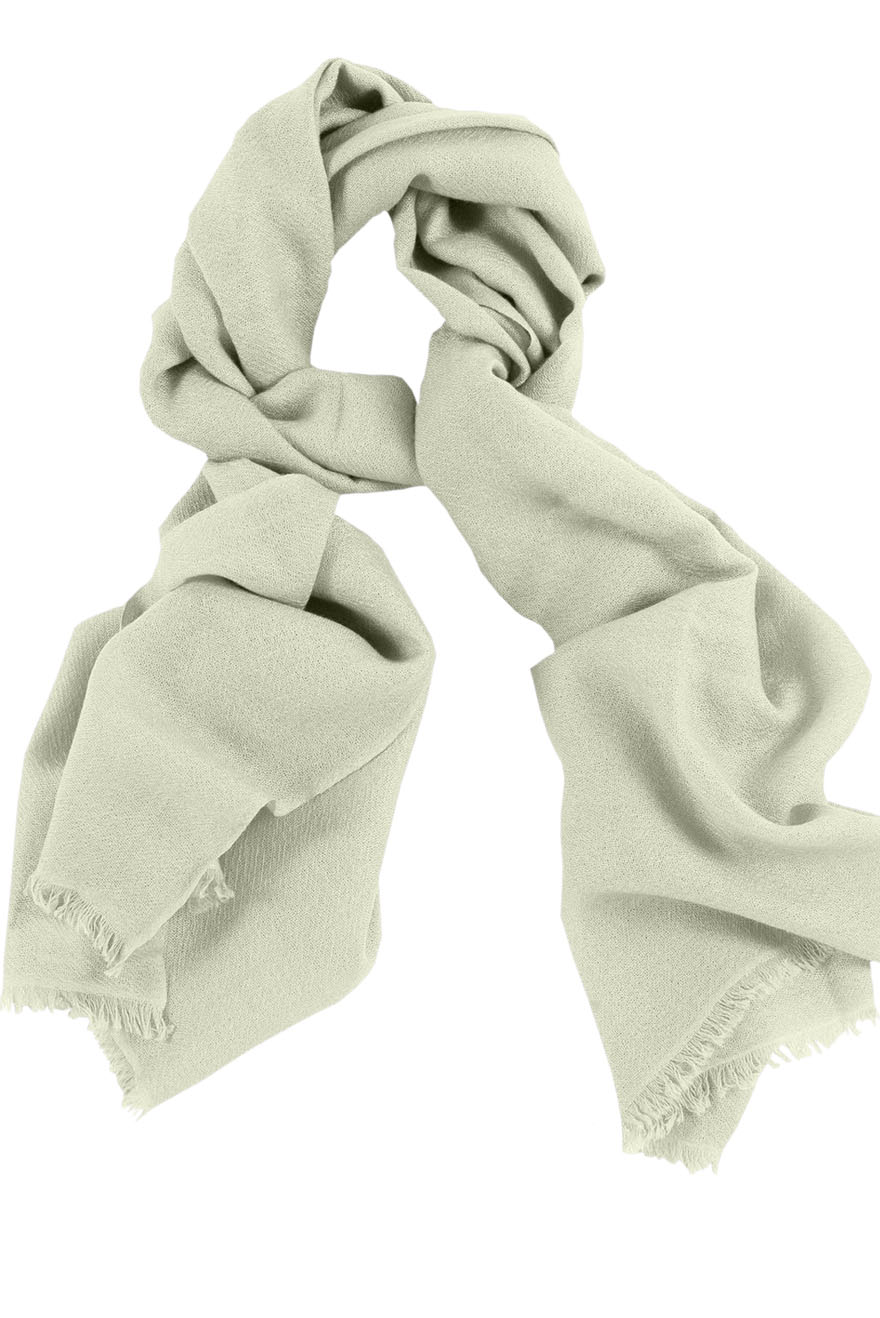 Mens 100% cashmere scarf in off-white, single-ply with 1-inch eyelash fringe.