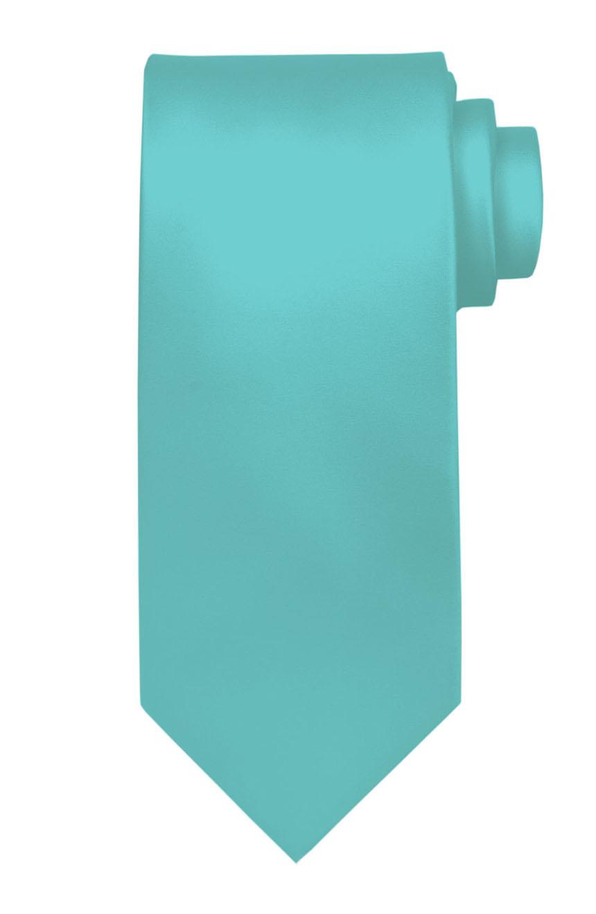 Mens handmade satin silk necktie in solid aquamarine color.