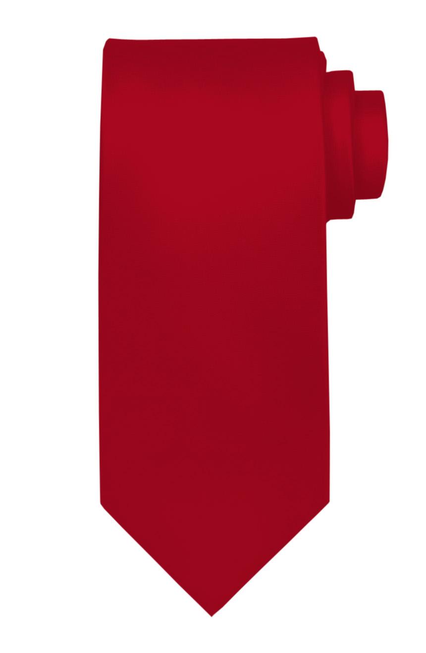 Mens handmade satin silk necktie in solid blood-red color.