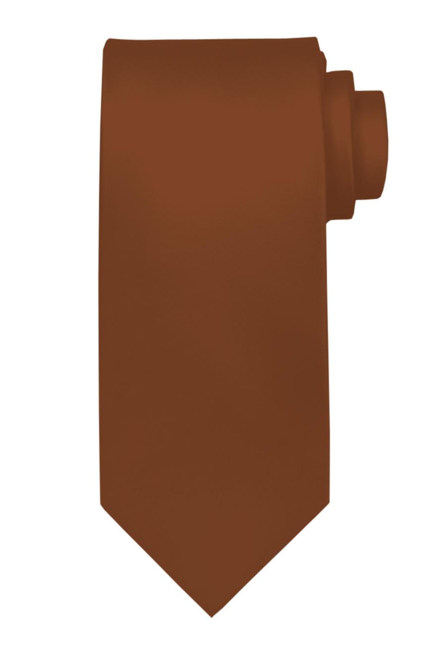 Mens handmade satin silk necktie in solid brown color.