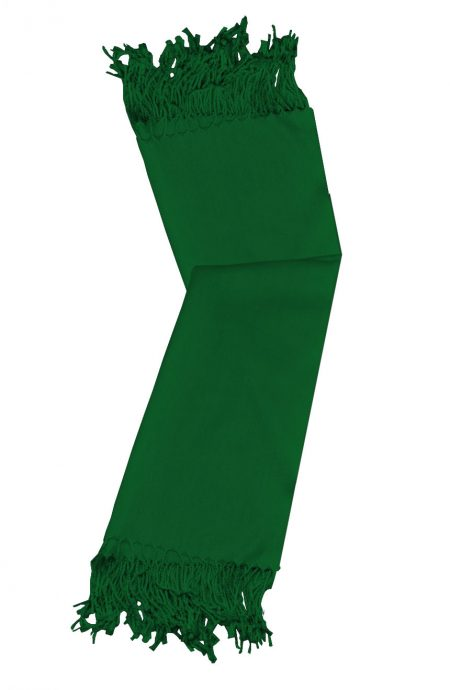 Hunter Green cashmere pashmina and silk-blend scarf in single-ply twill weave with 3 inches tassel.