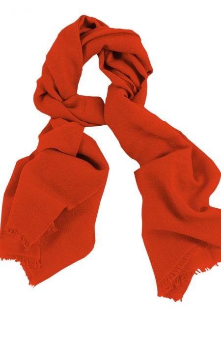 Cashmere wrap scarf womens in 100% cashmere vibrant orange color, beneficial as a wedding wrap, travel wrap scarf, or a winter scarf.