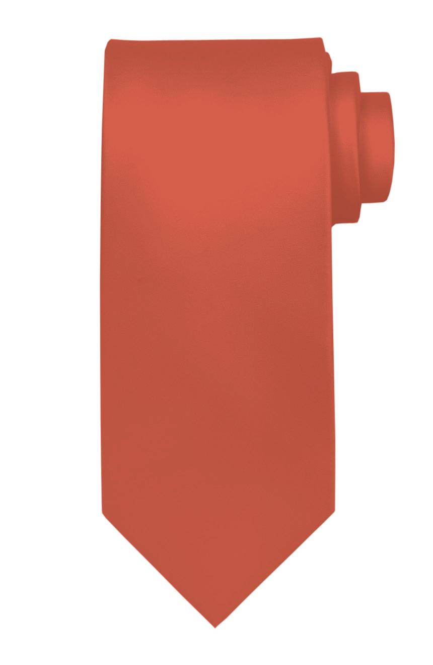 Mens handmade satin silk necktie in solid coral color.