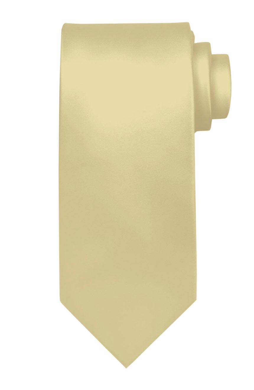 Mens handmade satin silk necktie in solid cream color.