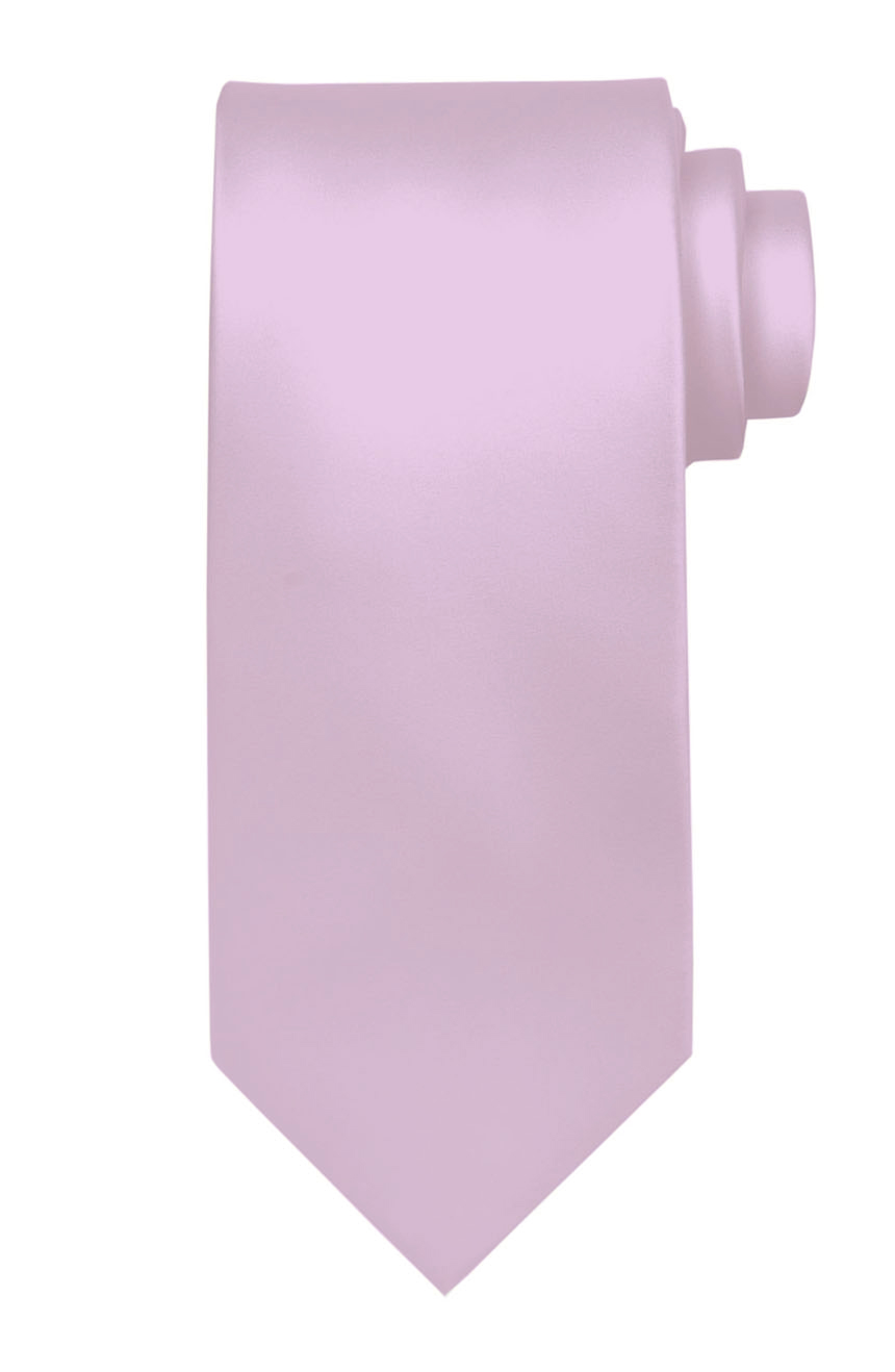 Mens handmade satin silk necktie in solid lilac color.