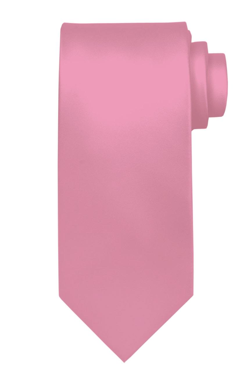 Mens handmade satin silk necktie in solid pastel pink color.