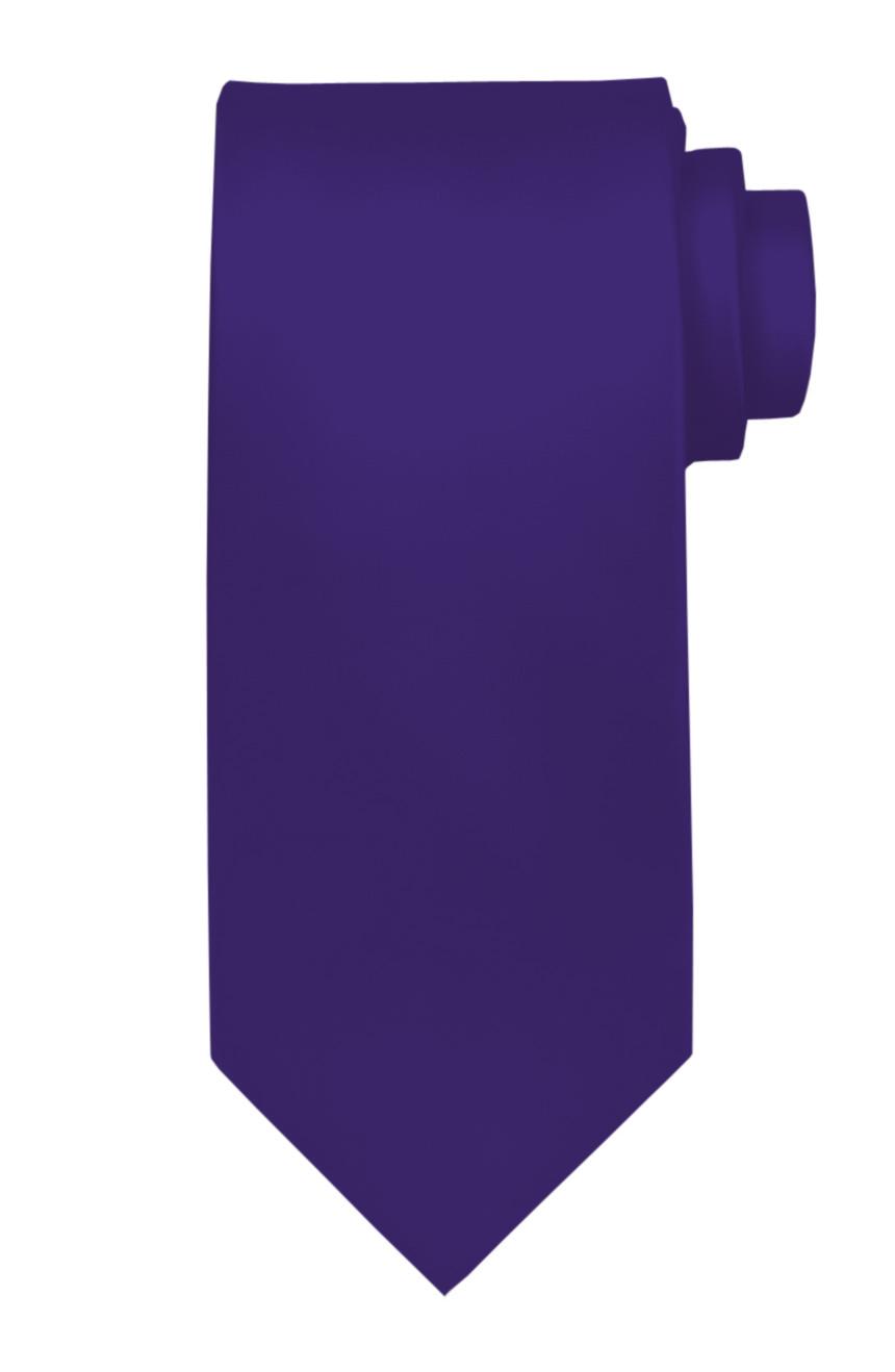 Mens handmade satin silk necktie in solid purple color.