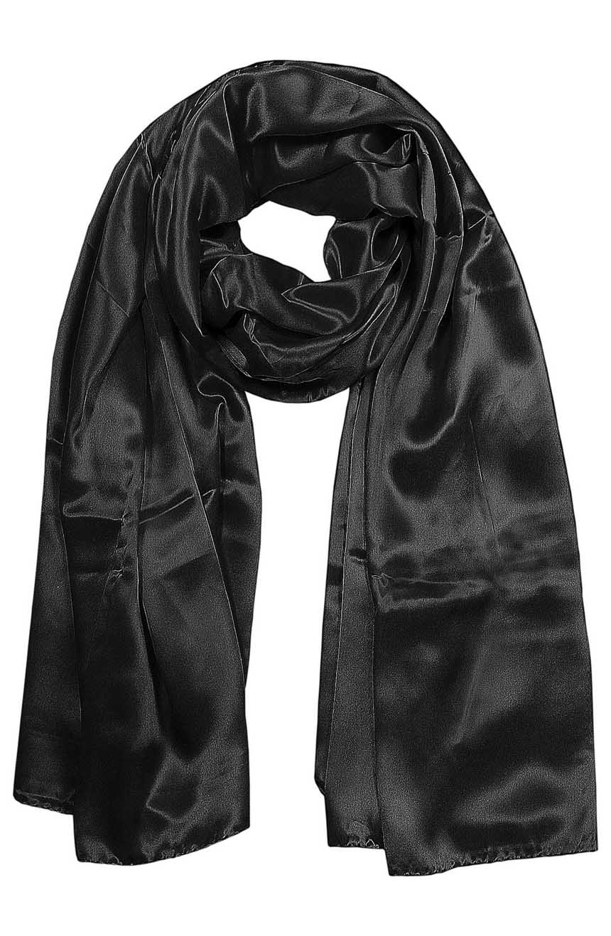 Womens silk neck scarf in black 22×75 inches with plenty of material to wrap around the head or shoulders in many ways.