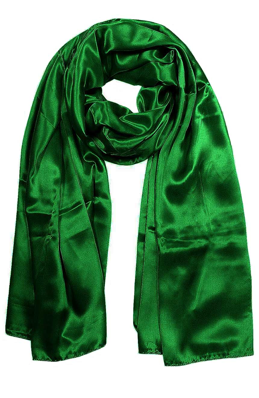 Womens silk neck scarf in hunter green 22×75 inches with plenty of material to wrap around the head or shoulders in many ways.