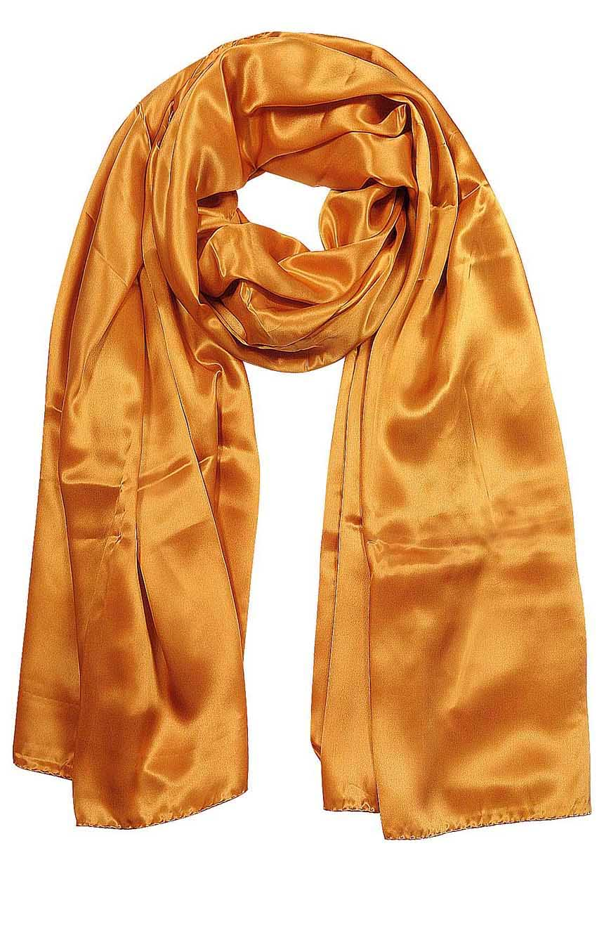 Womens silk neck scarf in carrot orange 22×75 inches with plenty of material to wrap around the head or shoulders in many ways.