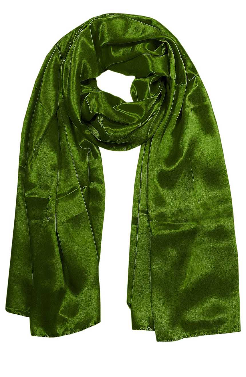 Womens silk neck scarf in basil green 22×75 inches with plenty of material to wrap around the head or shoulders in many ways.