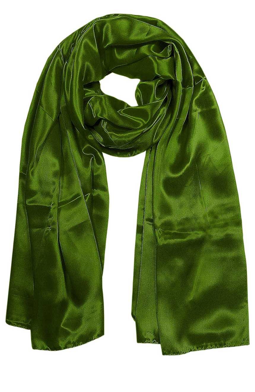 Basil green mens aviator silk neck scarf 75 inches long in 100% pure satin silk.