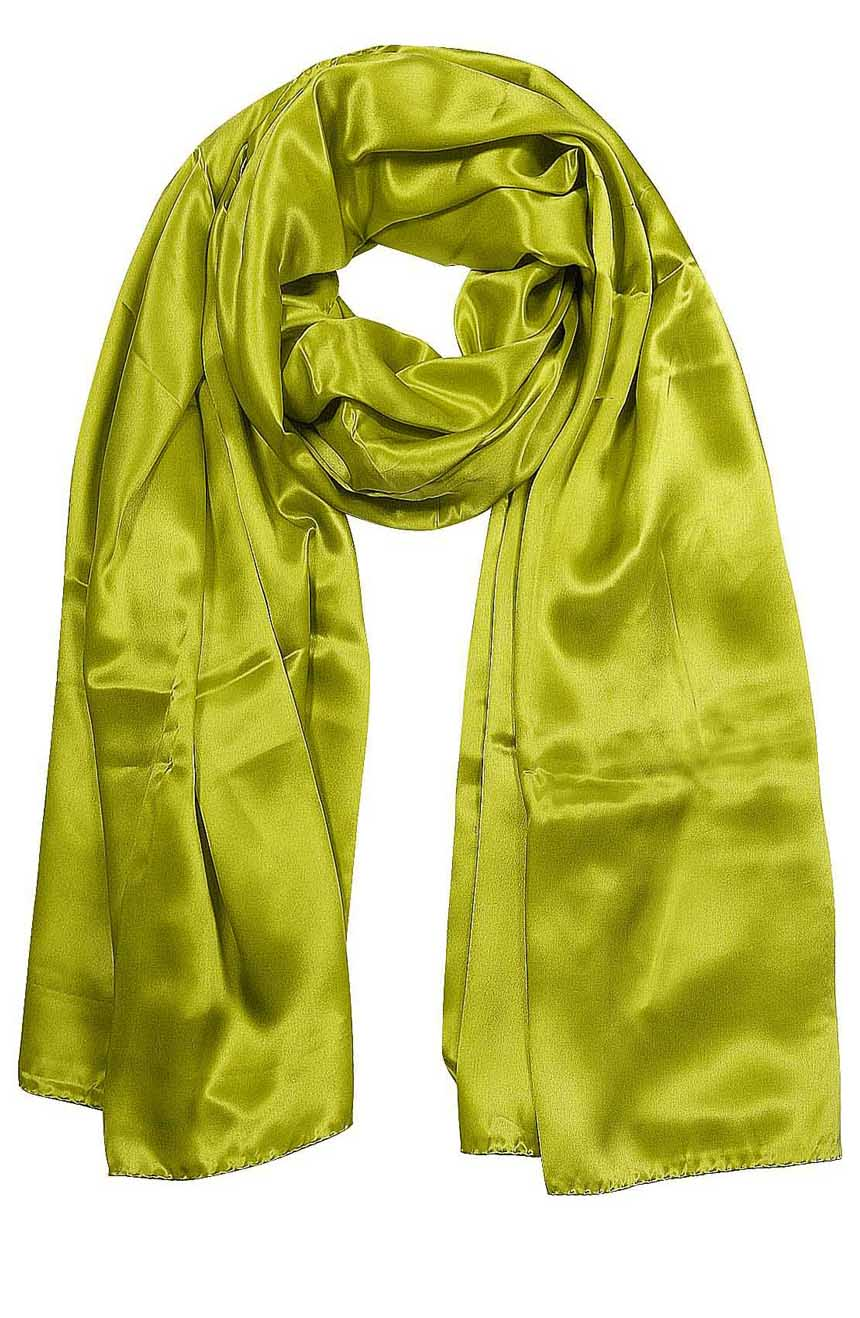 Womens silk neck scarf in pistachio 22×75 inches with plenty of material to wrap around the head or shoulders in many ways.