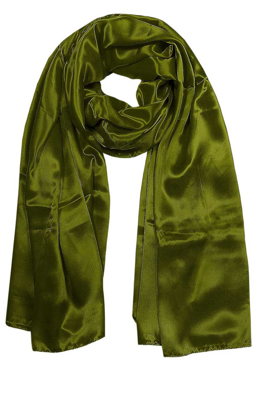 Womens silk neck scarf in olive green 22×75 inches with plenty of material to wrap around the head or shoulders in many ways.
