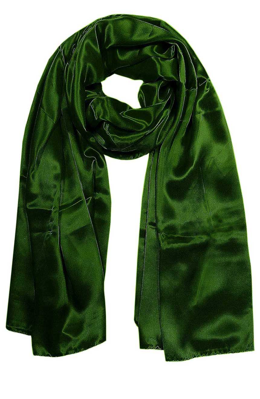 Forest Green mens aviator silk neck scarf 75 inches long in 100% pure satin silk.