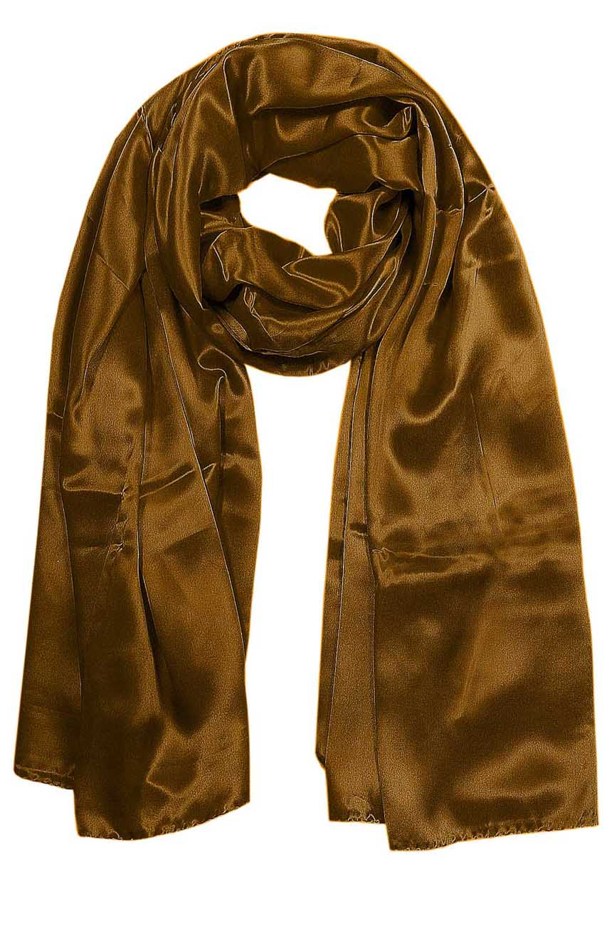 Womens silk neck scarf in brown sugar 22×75 inches with plenty of material to wrap around the head or shoulders in many ways.