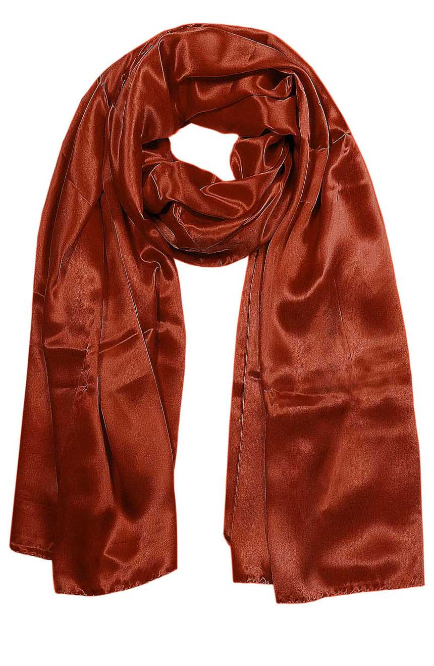 Womens silk neck scarf in rustic brick color 22×75 inches with plenty of material to wrap around the head or shoulders in many ways.