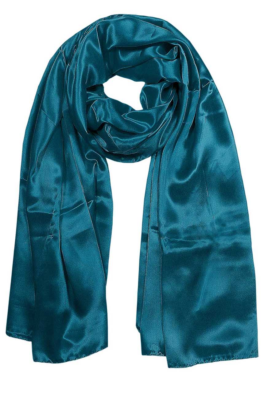 Womens silk neck scarf in blue teal 22×75 inches with plenty of material to wrap around the head or shoulders in many ways.