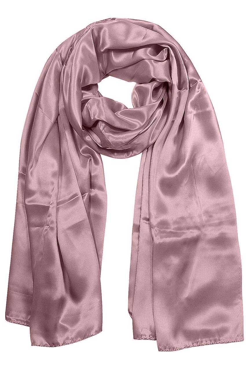 Womens silk neck scarf in baby pink 22×75 inches with plenty of material to wrap around the head or shoulders in many ways.