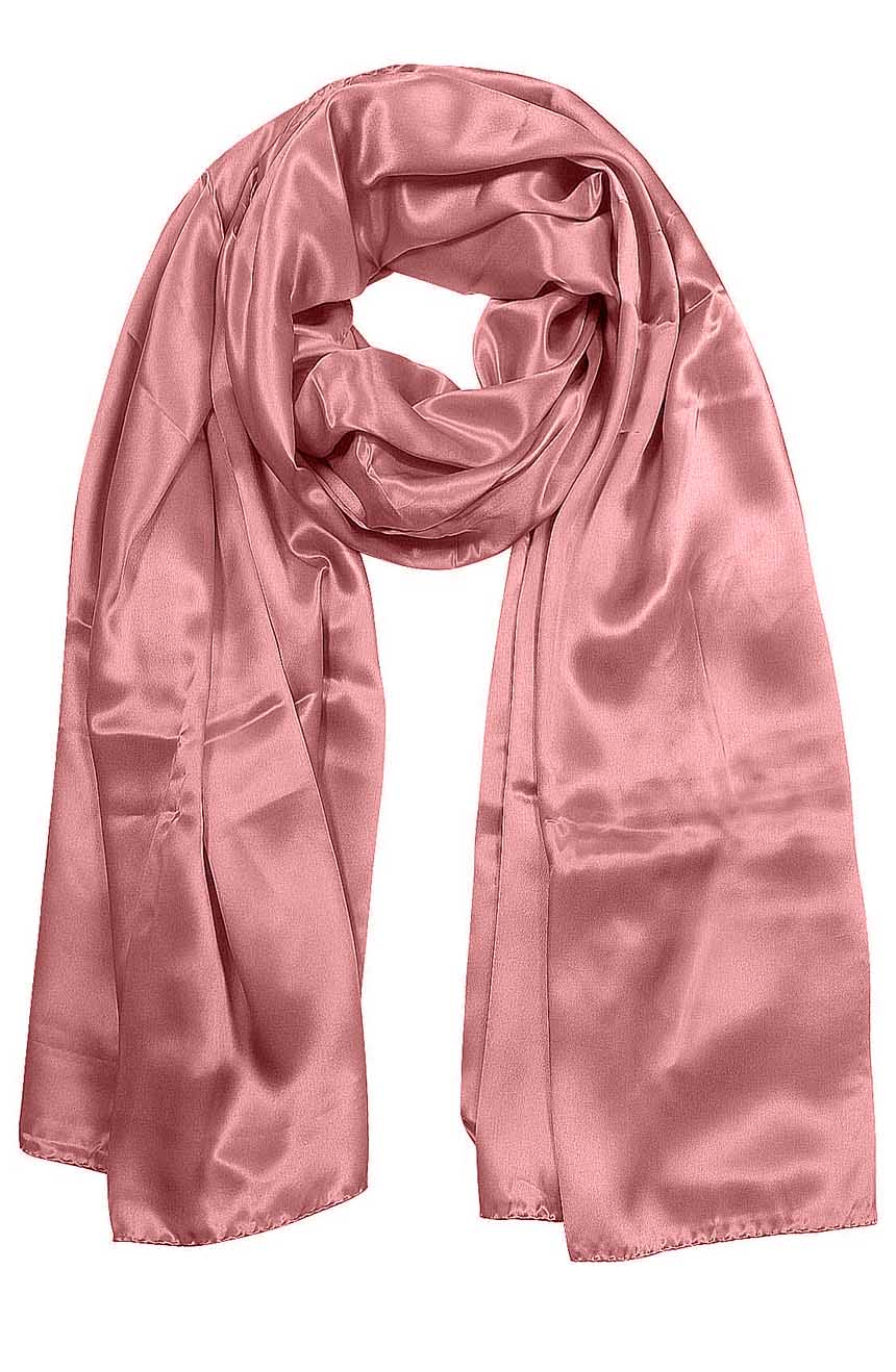 Womens silk neck scarf in pastel pink 22×75 inches with plenty of material to wrap around the head or shoulders in many ways.