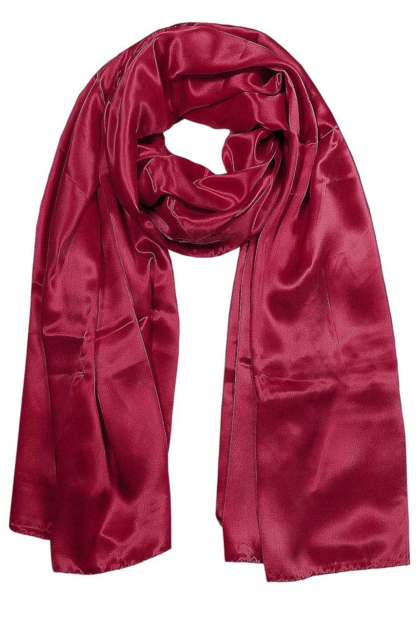 Womens silk neck scarf in raspberry 22×75 inches with plenty of material to wrap around the head or shoulders in many ways.