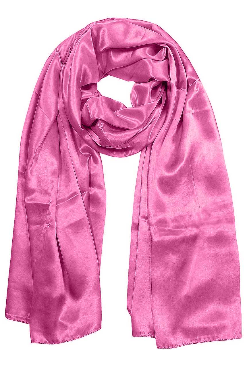 Womens silk neck scarf in pink 22×75 inches with plenty of material to wrap around the head or shoulders in many ways.