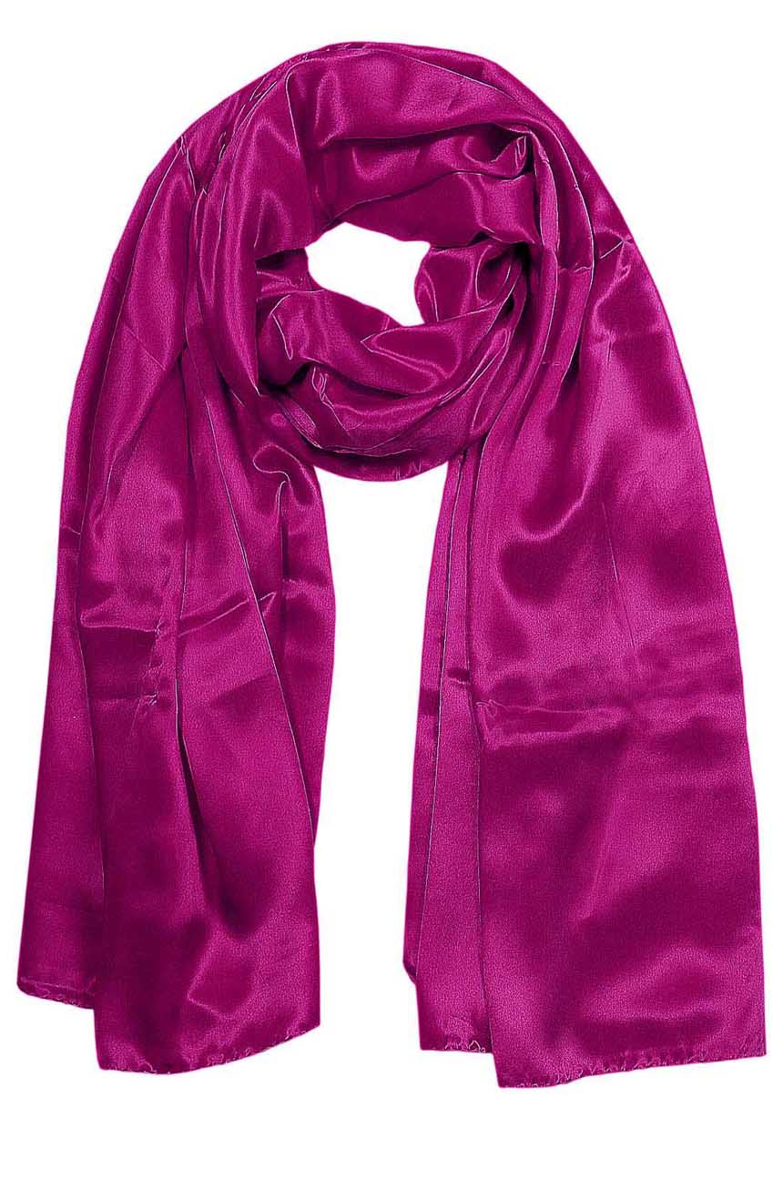 Womens silk neck scarf in royal pink 22×75 inches with plenty of material to wrap around the head or shoulders in many ways.