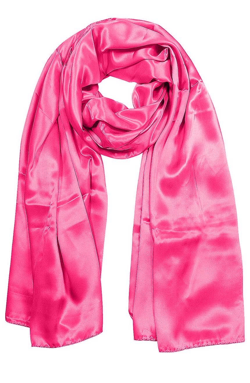 Hot Pink mens aviator silk neck scarf 75 inches long in 100% pure satin silk.