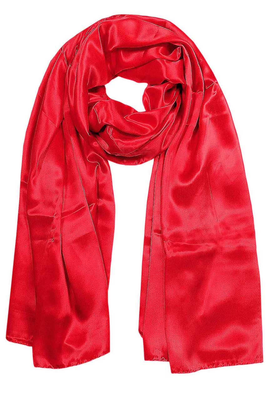 Red mens aviator silk neck scarf 75 inches long in 100% pure satin silk.