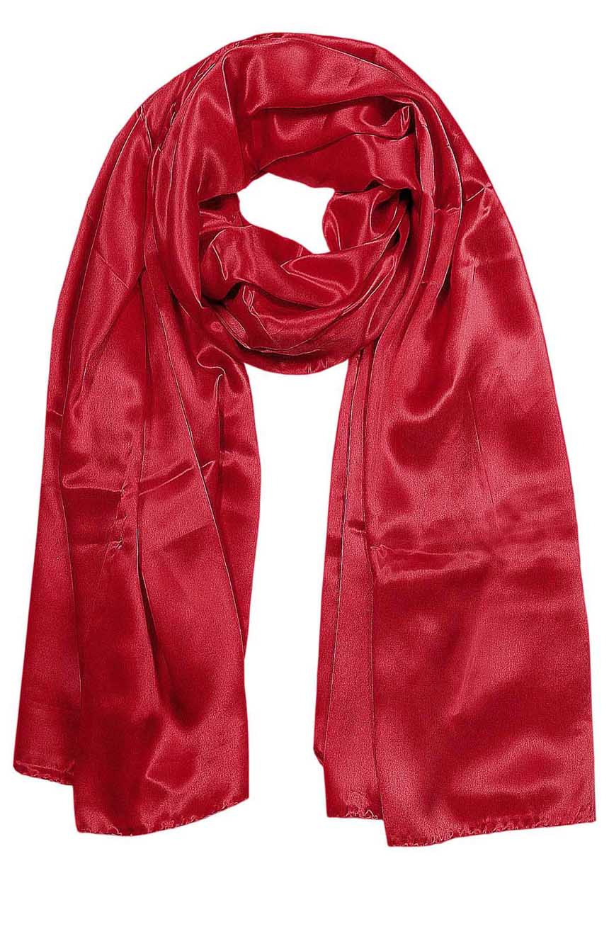 Womens silk neck scarf in scarlet  22×75 inches with plenty of material to wrap around the head or shoulders in many ways.
