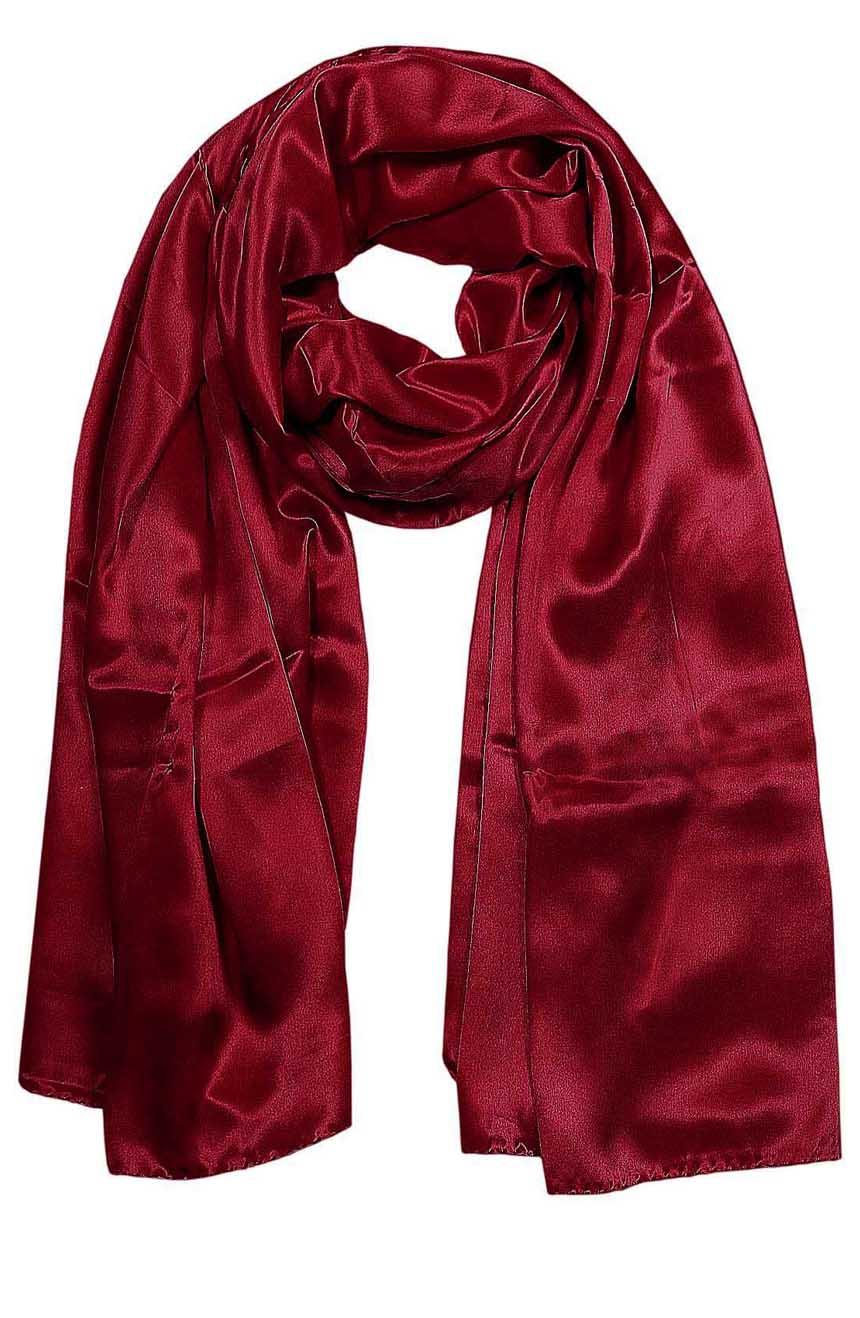 Garnet mens aviator silk neck scarf 75 inches long in 100% pure satin silk.
