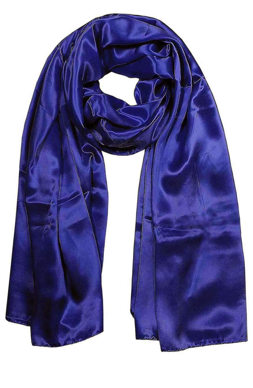 Womens silk neck scarf in deep navy 22×75 inches with plenty of material to wrap around the head or shoulders in many ways.