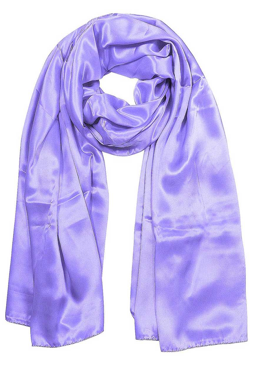 Womens silk neck scarf in lilac 22×75 inches with plenty of material to wrap around the head or shoulders in many ways.